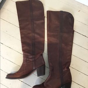 Tall brown leather Frye boots size 9